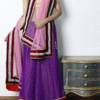 Purple Colored Net Lehenga with Golden Blouse-0