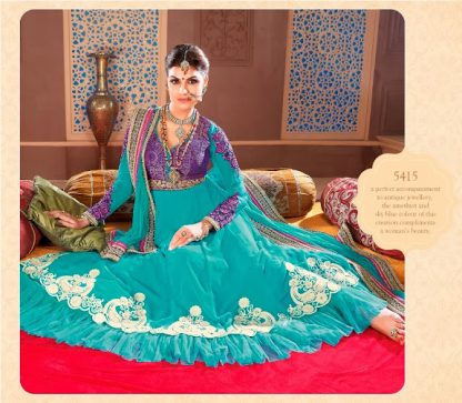 Beautiful Light Blue Semi Stitched Designer Dress Material-0
