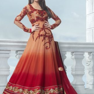 Pure Shaded Georgette Orange and Red Anarkali Suit-0