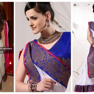 Shama Sikander in White and Deep Blue Designer Saree-0