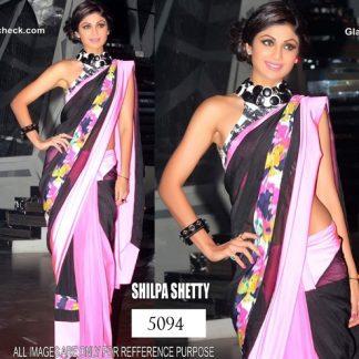 Shilpa Shetty Black and Pink Saree in Nach Baliye-0
