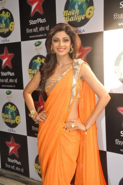 Bollywood Actress Shilpa Shetty in Orange Colored Saree-0