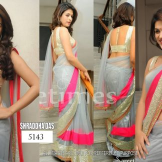 Shraddha Das in Lovely Grey and Pink Saree-0