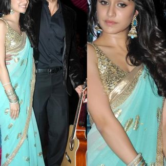 Shraddha Kapoor Lovely Sky Blue Saree-0