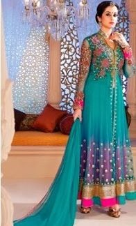 Designer Net Dress Material in Sky Blue Color-0