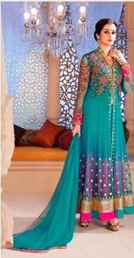 Designer Net Dress Material in Sky Blue Color-0