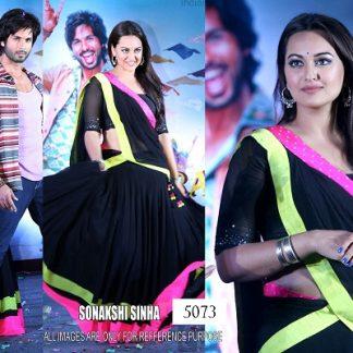 Bollywod Actress Sonakshi Sinha in Georgette Black Saree-0