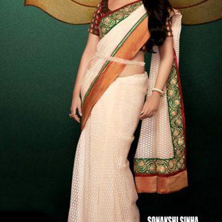 Stunning Star Sonakshi Sinha in Lovely Cream and Brass Saree-0