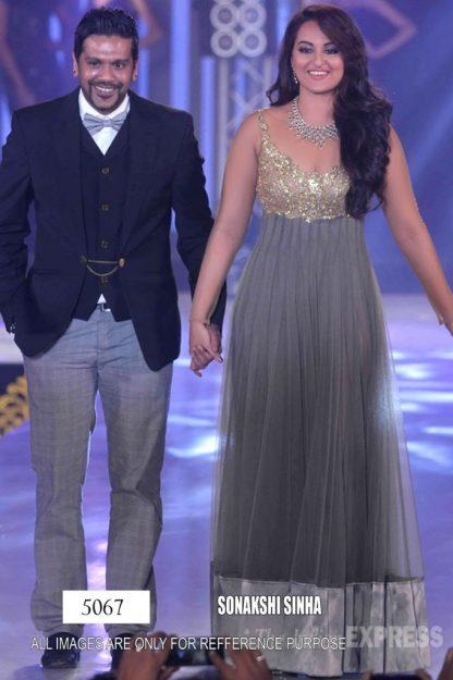 Bollywood Replica Sonakshi Sinha in Stunning Designer Grey Gown-0