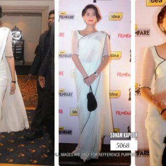 Bollywod Actress Sonam Kapoor Designer White Saree-0