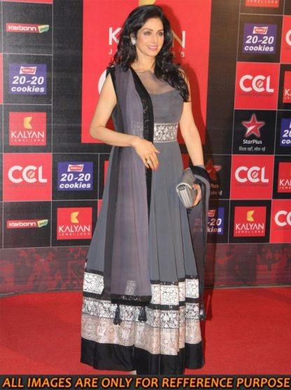 Evergreen Beauty Sridevi in Grey Net Dress-0