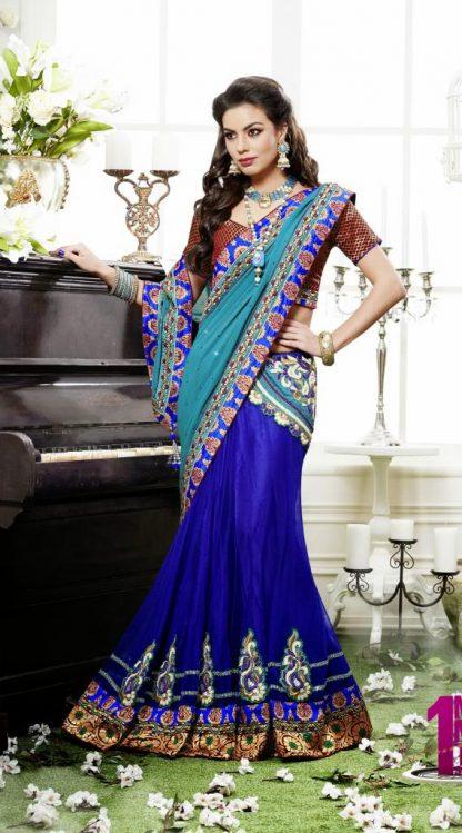 Beautiful Striking Blue Lehenga Saree-0