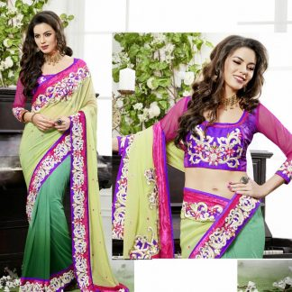 Stunning Georgette Net Saree in Green and Purple Color-0