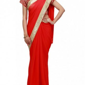 Stunning Red Saree of Georgette Material with Gold Borders-0