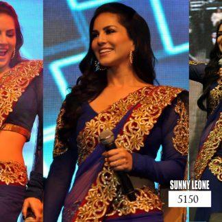 Stylish Sunny Leone Goergeous Dark Blue Designer Saree-0