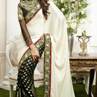 Beautiful White and Green Celebrity Saree-0