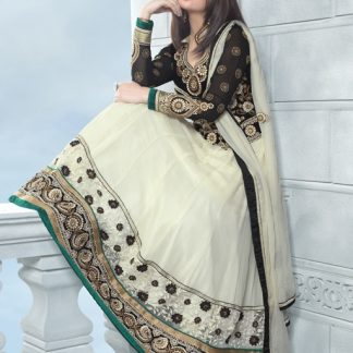 Stunning White Designer Semi Stitched Dress Material-0