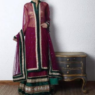 Wine Colored Net Lehenga with Golden Blouse-0