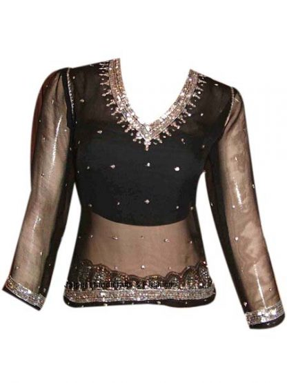 Sizzling Black Georgette Ethnic Top for Indian Women-0