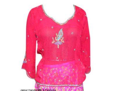 Buy Designer Deep Pink Ethnic Kurti Top for Women-0
