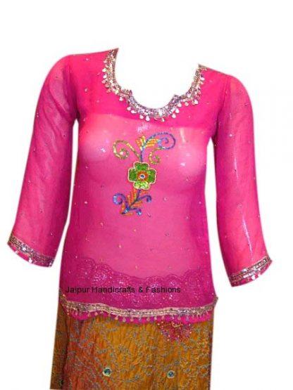 Buy Designer Deep Pink Georgette Kurti for Indian Women-0