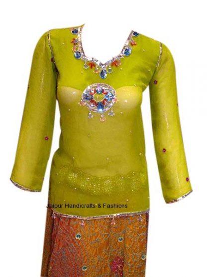 Buy Designer Yellow Green Kurti With Beautiful Embellishments-0