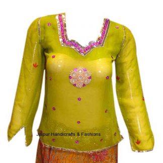 Designer Lovely Yellow Green Kurti With Pretty Embellishments-0