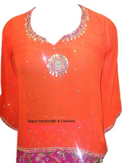 Designer Fashionable Red Georgette Ethnic Kurti in Free Size-0