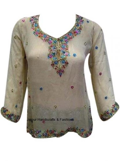 Designer Wheat-Colored Georgette Kurti for Indian Women-0