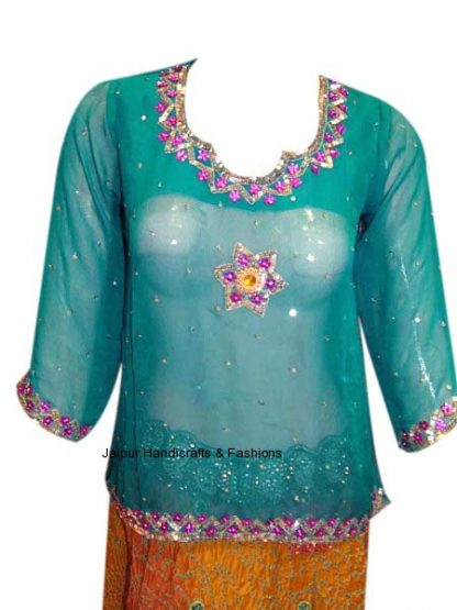 Sparkling Party Wear Teal Colored Georgette Kurti-0